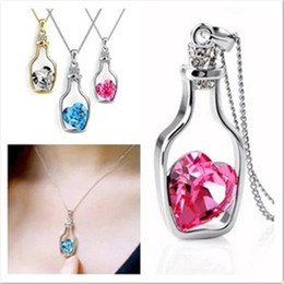 Wholesale Cheap Heart Necklaces - New DHL Hollow Bottles And Love Crystal Pendant Necklace Austrian Cheap Choker Diamond Alloy Necklace Sweater Necklace Locket Jewelry ZJ-N02