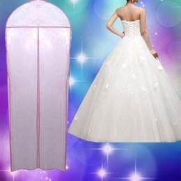 Wholesale Transparent Bridal Gown - Wholesale-Transparent Wedding Dress Dust Cover Best Organza Garment Bags Bridal Gown Bag Cover