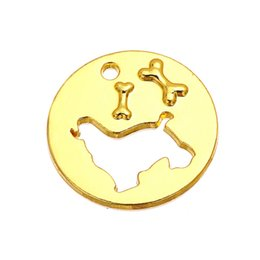 Wholesale Round Disc Charm - Free shipping 18*18mm Silver   18k Gold Plated Dog And Bone Round Disc Charms And Pendant Wholesale 10pcs jewelry making