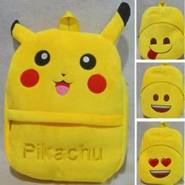 Wholesale Stuffed Animal Backpacks Children - EMS Children Pikachu Emoji Backpacks New Kids Boys Girls Cartoon Plush Stuffed QQ EXpression Poke School Bags XMAS Gifts 9 Style HH-B05