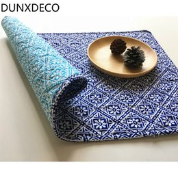 Wholesale Prop Store - Wholesale- DUNXDECO 2PCS 32x48CM Vintage Chinese Style Blue Cotton Quilted Decorative Table Placemat Home Store Table Cover Photo Prop