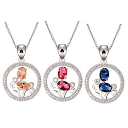 Wholesale Sweet Girl Face - Cute Sweet Girl Fashion Jewelry Crystal Rhinestone Round Necklace Pendant Present Syeer C00570