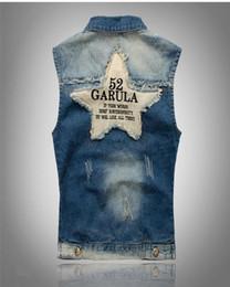 Wholesale Mens Star Jacket - Brand Mens Denim Vest Men Cowboy Sleeveless Vintage Jacket Holes Stipe & Star flag washed vest M-XXXL