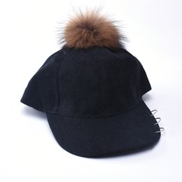 Wholesale Knitted Character Baby Hats - Parent-child Snapback Baby Girls Boys Hats Women Mother Hat Warm Winter Knit Real Fur Crochet Pompon Winter Caps