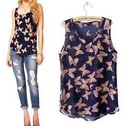 Wholesale Fresh Retail - Wholesale-Women's Butterfly Print Summer Chiffon Blouse Sleeveless Shirt Fresh Vest TopTank Retail Wholesale 5K2A
