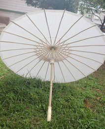 Wholesale Wholesale Paper Parasol Umbrellas - (30 pcs lot) New Eco-friendly Bamboo With Paper White Color Long-handle Bridal Wedding Umbrellas free Shipping