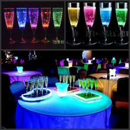 Wholesale Light Up Cups Wholesale - 6Pcs per lot Liquid active LED Champagne Glass light up LED Flash Champagne Cup for club bar Party Decoration Christmas supplies 6.8*18CM
