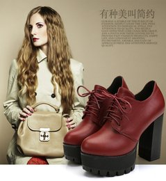 Wholesale Short Lace Up Boots - Britain New style women's boots short boots Fashion boots Platform High Heel boots Lace up Ankle boots women's Autumn shoes #2123