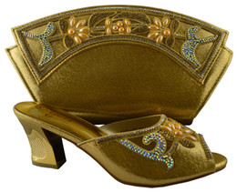 Wholesale Gold Decoration For Shoes - Hot sale women's pumps with big stone flower decoration African shoes with handbag sets for party 1308-L60 gold,high heel 7.5cm
