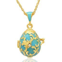 Huevos de pascua rusos online-Fleur De Lis flower Faberge Egg Pendant Easter Egg medallón para Russian Style Necklace with Crystal