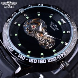 Wholesale Mens Golden Wrist Watches - Forsining Classic Transparent Case Golden Skeleton Mens Watches Top Brand Luxury Automatic Watch Clock Men Male Wrist Watch