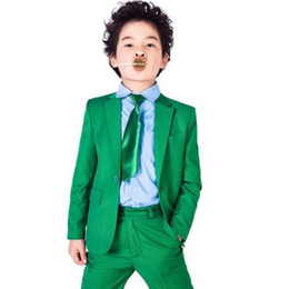 Wholesale Custom Bespoke Suit - green boys suit Boys Suit Wedding Prom Formal Tuxedos Page Boy Custom Party Dinner Suit Bespoke