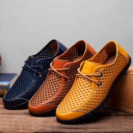 Wholesale Mens Casual Moccasins - Elegant Stylish Genuine Leather & Mesh Patchwork Casual Shoes Sneakers Mens Breathable Moccasins Flats Hand Made Shoes Spring Summer Lace Up