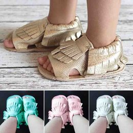 Wholesale Pink Infant Sandals - 9 Color New cow leather Infant open toe mocassions sandals baby tassels boot booties infant plastic leather 2layer