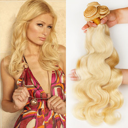 """Wholesale Extension 26 Inch Blond - Bleach Blond Indian Hair Body Wave 3Pcs Lot Human Hair Extensions Weave Mixed Length 10""""-30"""" Color #613 Blonde Human Hair Weaving"""