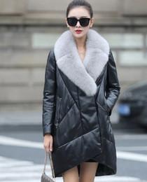 Wholesale Genuine Leather Fox Fur - Women's winter natural fox fur collar genuine leather sheepskin asymmetric medium long duck down parka coat plus size 3XL