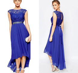 Wholesale Jacket Dresses High Necklines - Blue Lace Chiffon High Low Formal Maxi Evening Dress 2017 Beaded Sash Short Sleeve Sheer Neckline Homecoming Prom Gowns