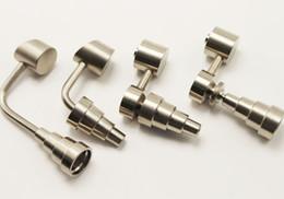 diferentes tipos de metales Rebajas 6 en 1 latón titanium del clavo 10mm14mm18mm masculino o femenino para los tubos de agua de cristal fabulosos de Ashcatcher