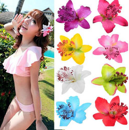 Wholesale Leather Flower Hair Clip - Free Shipping ! 10 Colors Orchid Hair Flower Grip Pin Slide Bridal Wedding Head Clip Headpiece 50pcs