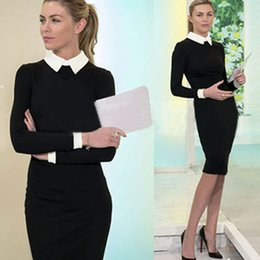 Wholesale Knee Length Cocktail Dresses Women - Womens Black Slim Bodycon Work Office Cocktail Party Evening Stretch Pencil Dress Office Lady OL Work Dresses Long Sleeves Bandage Dress