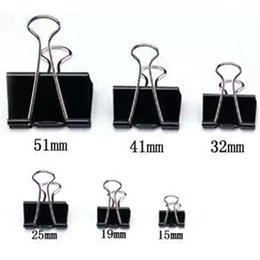 Wholesale Wholesale Paper Clips - 36 pieces Lot Black Metal Binder Clips 15 19 25 32 41 51mm Notes Letter Paper Clip Office Supplies Binding Securing clip Product