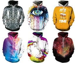 Wholesale skull print hoodie - 2017 Christmas Santa Newest Men's Hoodies Sweatshirts With Hat Street Fashion Sports 3D Patterns Print Workout & Training Galaxy Print M~2XL