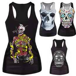 Wholesale Bone Print Tank - Wholesale-Portable Summer New 2016 Women Tanks RIBS 3D Vest Tops Skull Bone Tanks Women Sexy Tank Top 4 Patterns Women Clothing