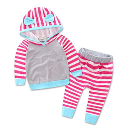 Wholesale boy toddlers jacket - ins Boys Girls Baby Childrens Clothing Sets Spring Autumn Striped Cotton Hoodies Jackets Pants 2 Piece Set Jumpers Toddler Clothes Wholesale
