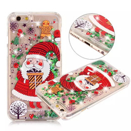 Wholesale iphone snowman - Christmas Gift Phone Cases For iphone 6 6S 7 Plus 5 5S SE Case Cute Santa Claus Tree Snowman Elk Glitter Star Liquid Transparent Clear Cover