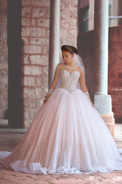 Wholesale Modest Beaded Wedding Gowns - Modest Wedding Dresses with Long Sleeves Bridal Ball Gowns Wedding Dresses Sheer Corset Beaded Cathedral Wedding Gowns with Crystals