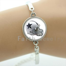 rugby charms Coupons - Exquisite popular ball fans jewelry case for Dallas Cowboys team Newest sport team helmet bracelet trendy rugby bracelets NF143