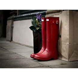 Wholesale Tall Canvas Shoes - Women RAINBOOTS Fashion Knee-high Tall Rain Boots Waterproof Welly Boots Rubber Rainboots Water Shoes Rainshoes