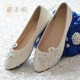2014 Ivoire Chaussures De Mariage Dentelle Fleur Perles À La Main Chaussures De Mariée Accessoires De Mariée Perles Chaussures De Mariage Femmes Plate-Forme De Sandale Plateformes ? partir de fabricateur