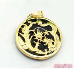Wholesale Dragon Phoenix Rings - 2016 hot buy pearl jade bracelet ring earring necklace Pendant >>>Black Agate Yellow Gold Plated Dragon Phoenix Sun Pendant and Necklace