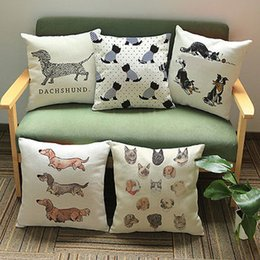 Wholesale Vintage Car Prints - Dachshund Pillow Cover Cute Dog Cushion Covers Vintage Dog Cat Pillow Cases for Car Sofa Home Decoration Pillowcase