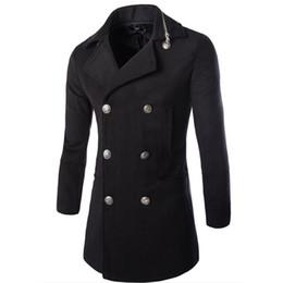 Wholesale Fashion Pea Coats - Fall-2016 Casual Fashion Mens Jackets And Coats Duffle Coat Stylish British Style Single Breasted Mens Pea Coat Wool Trench Coat