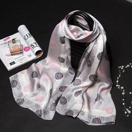 Wholesale Silk Scarf Hijabs - 175X65CM Camellia Print Lady Mulberry Silk Big Rectangle Scarf Floral-Print 100% Pure Silk Pashmina Shawl Wraps Fashion Hijabs Capes
