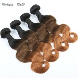 Wholesale Human Hair Extentions Cheap - Brazilian Hair Bundles Body Wave Human Hair Extentions 3 4pcs Lot Cheap Ombre Hair Weave 1b #4 #27 Three Tone Free Shipping
