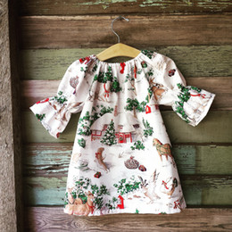 Wholesale Wholesale Animal Print Clothing - Christmas Children A-line dress Baby girls houses printed seven-minute sleeves dress Kids animal tree princess dress Kids clothes C1931
