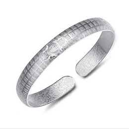 Wholesale Antique Sterling Charms - 925 silver Women Bangles Fashion Pierced Hollow Antique Cuff Charm Bangle 925 Sterling Silver High quality jewelry