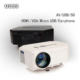 Wholesale Banks Education - Wholesale- Portable Mini 1080P LED LCD Projector UC30 home Cinema Theater beamer Support power bank HDMI VGA SD USB AV phones PC TV laptop