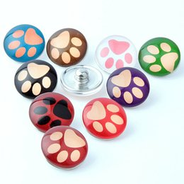 Wholesale Dog Pendant Earring - Mix colors 18mm snap button dogs footprints jewelry diy making for necklace earring bracelet charms pendant