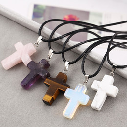 Wholesale Tiger Eye Crystal Necklaces - Leather Chain Natural Stone Turquoise Crystal Eye Tiger Cross Christian Pendant Necklace for Women Jewelry christian religious gifts