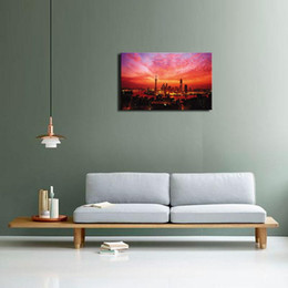 Wholesale Sunrise Painted Walls - 1 Picture Combination Art Modern Shanghai at red clouds at sunrise and sunset On Canvas Wall painting For Decoration