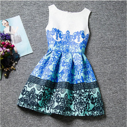 Wholesale Tencel Print Dresses - Chinese style 2016 hot sale summer red blue print dress for girls 12 years sleeveless vest princess dresses for children