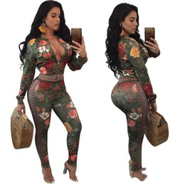 Wholesale High Neck Spandex - New arrive best quality 2017 casual two piece set women deep v neck full sleeve jacket and sexy green flower print pant