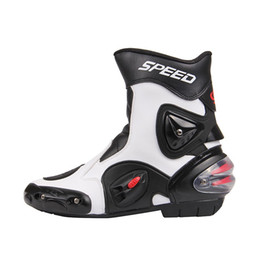 Wholesale Motocross Boots White - Free shipping Ankle joint protection motorcycle boots Pro-Biker SPEED boots for motorcyle Racing Motocross Boots BLACK RED WHITE