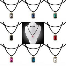 Wholesale Ruby Faceted Necklace - trendy Imitation Square rectangle Faceted gem necklace Red black purple green blue pink Transparent crystal pendant ruby necklace women x310
