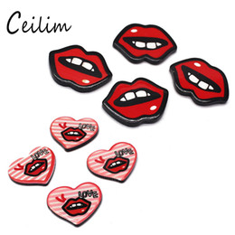Wholesale Red Lips Phone - Wholesale Red Lips Acrylic Scrapbook Paste Accessories Cute Funny Patches Graffiti Cartoon Fashion Brooch & Phone DIY Simple Cheap Jewelry