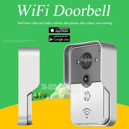 Wholesale Wireless Door Alarm Camera - WiFi Wireless Video Door Phone intercom Doorbell Peehole Camera English French PIR IR Night Vision Alarm Android IOS Smart Home
